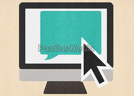 large cursor over speech bubble on