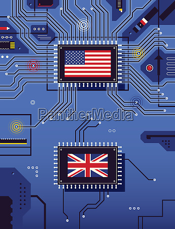 american and british flags disconnected on