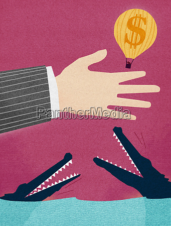 businessman releasing dollar hot air balloon