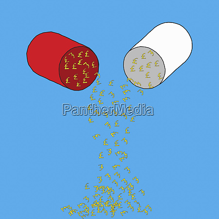 pound signs falling from pill capsule