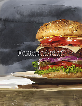 stor hamburger med masser af lag