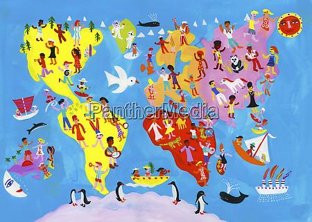 illustrated world map of people enjoying