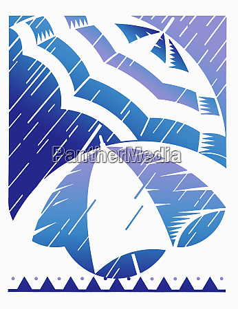 regn pa stribede paraplyer