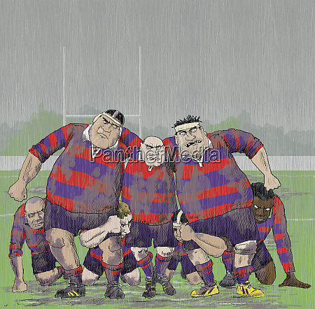 snerrende aggressive aeldre rugby spillere danner