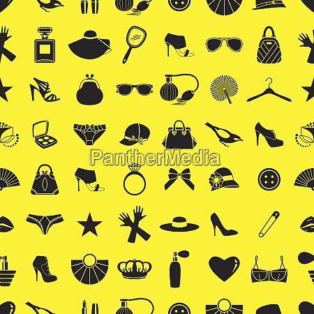 pattern of black feminine clothing accessories