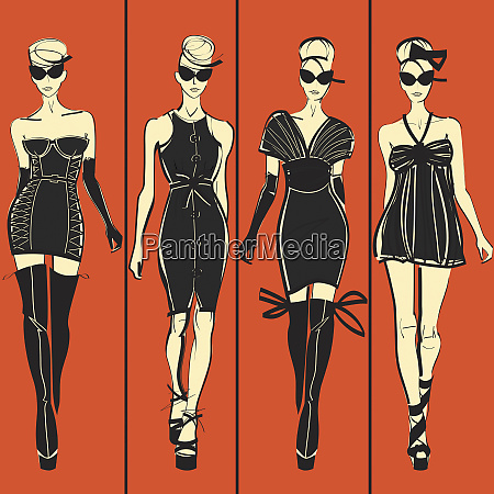 four elegant fashion models side by