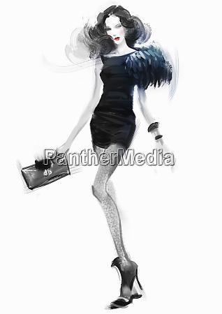 beautiful fashion model wearing black mini