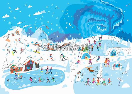 lots of people enjoying winter activities