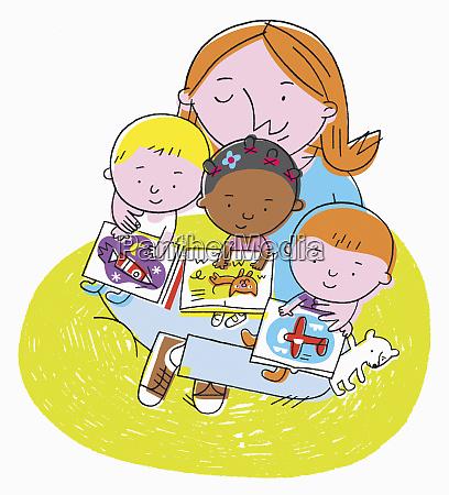 nursery teacher with three toddlers sitting