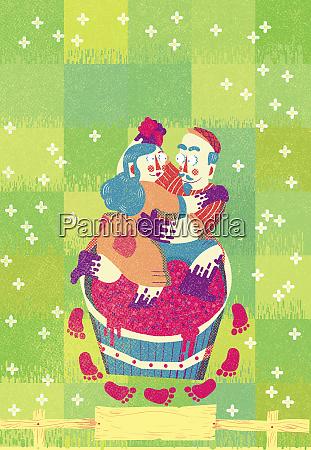 couple dancing treading wine grapes