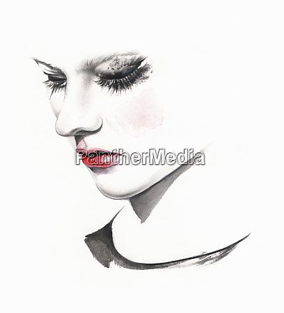 trist kvinde graeder med udtvaeret makeup