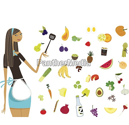 woman in apron standing with healthy