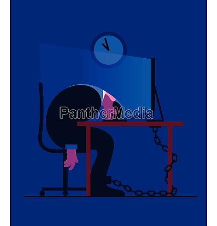 opbrugt forretningsmand laenket til skrivebordet sove