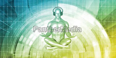 zen musik mand med hovedtelefon