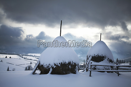 wooden houses under snow