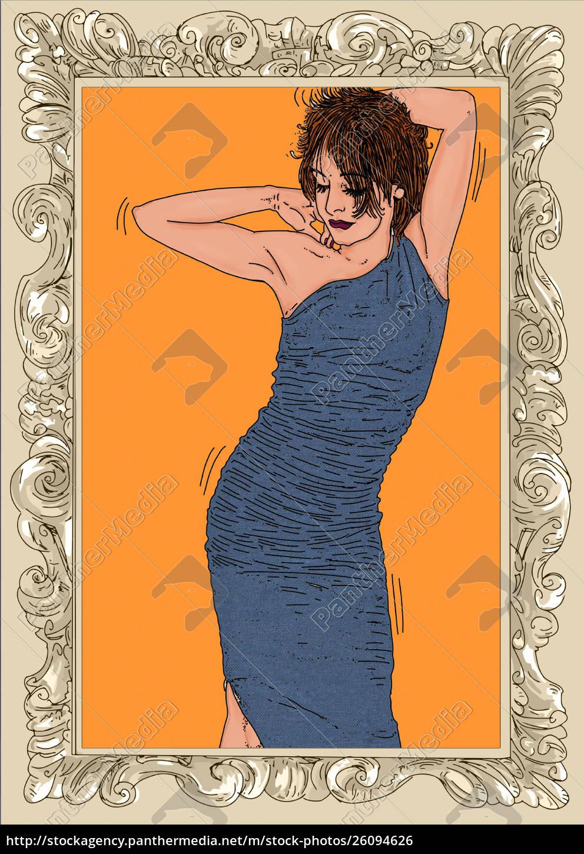 , kvinde, erotisk, raffineret, og, sensuel, linje - 26094626