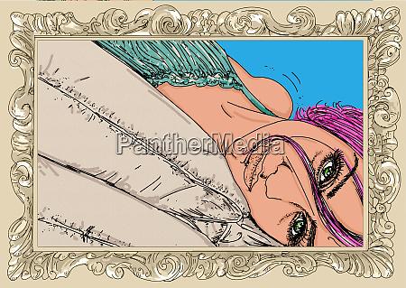 , kvinde, erotisk, raffineret, og, sensuel, linje - 26094641
