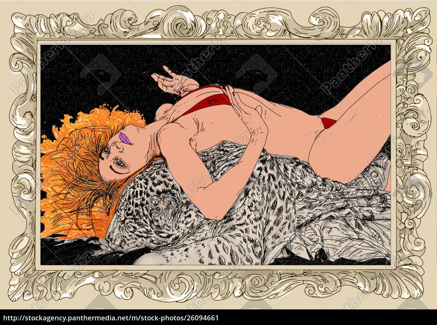 , kvinde, erotisk, raffineret, og, sensuel, linje - 26094661