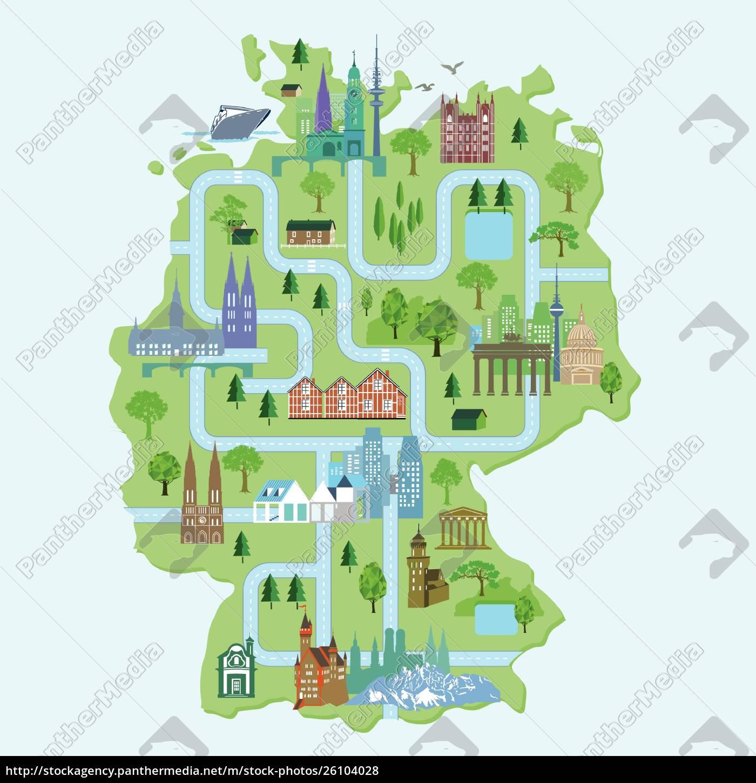 Tyskland Kort Med Byer Illlustration Stockphoto 26104028