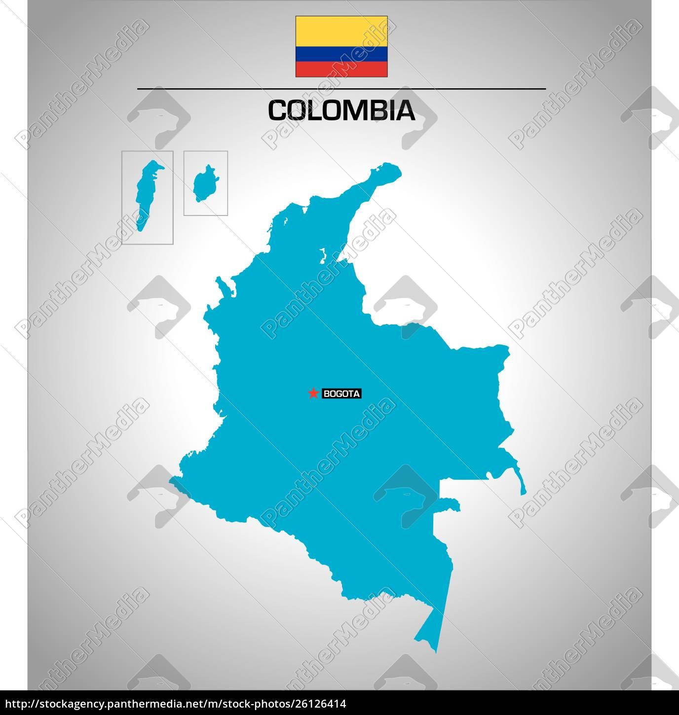 Simpel Vektor Skitse Kort Over Colombia Med Flag Stockphoto