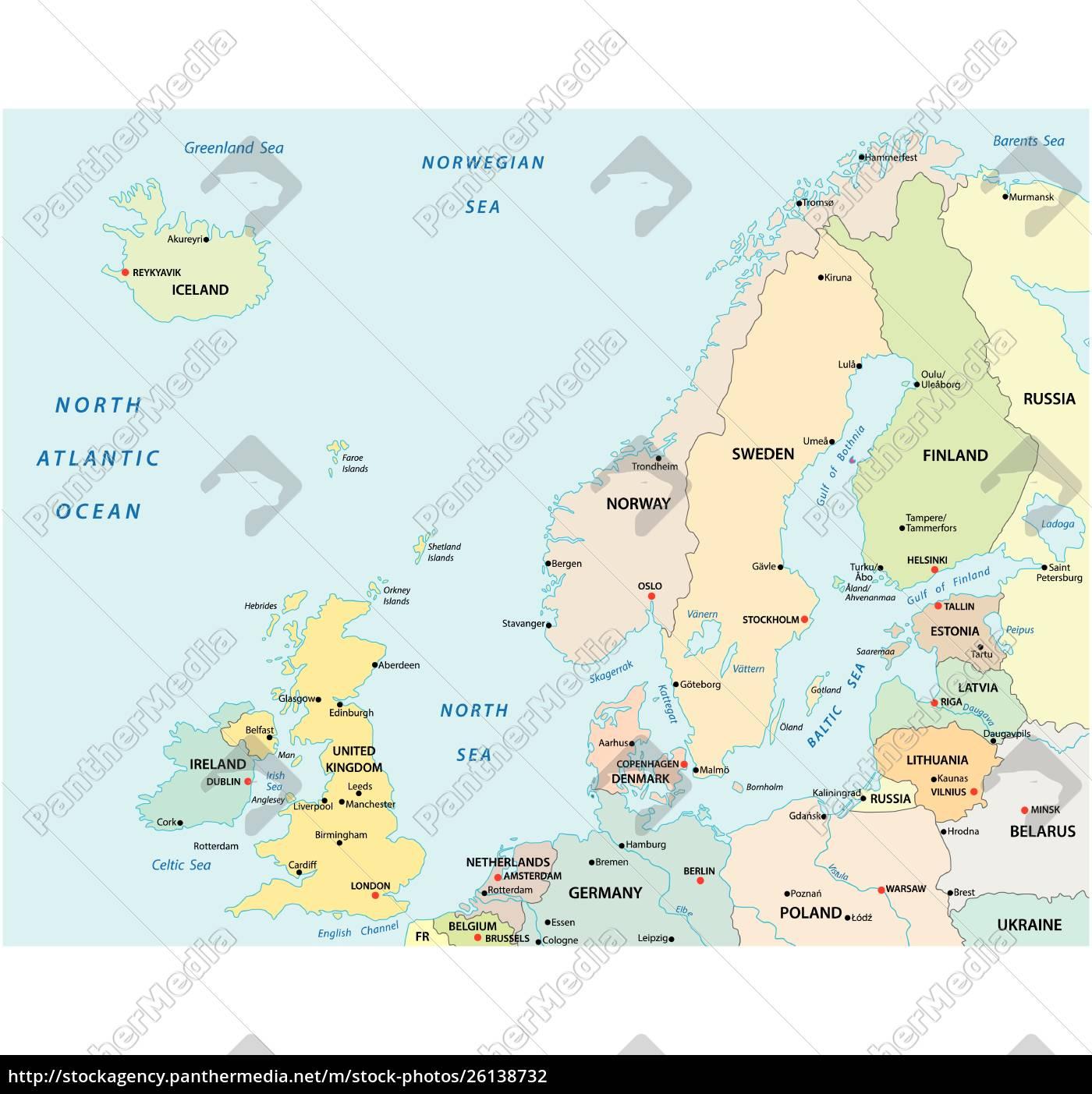 Politisk Og Administrativt Vektor Kort Over Nordeuropa