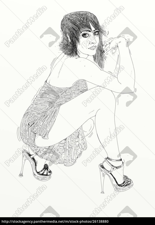 , kvinde, erotisk, raffineret, og, sensuel, linje - 26138880