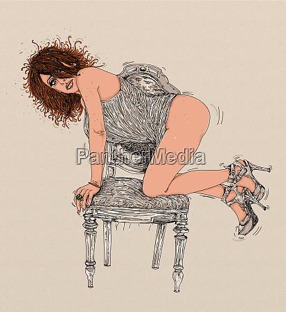 , kvinde, erotisk, raffineret, og, sensuel, linje - 26138887