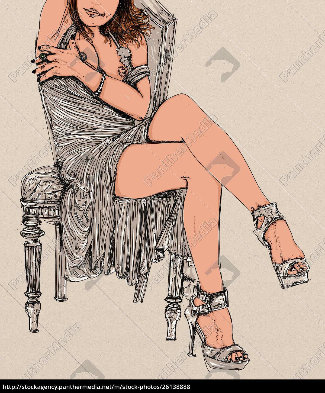 , kvinde, erotisk, raffineret, og, sensuel, linje - 26138888