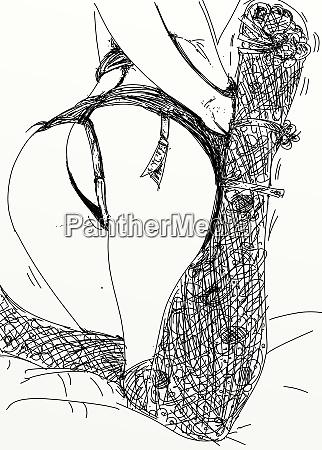 kvinde, erotisk, raffineret, og, sensuel, linje, designet - 26138893