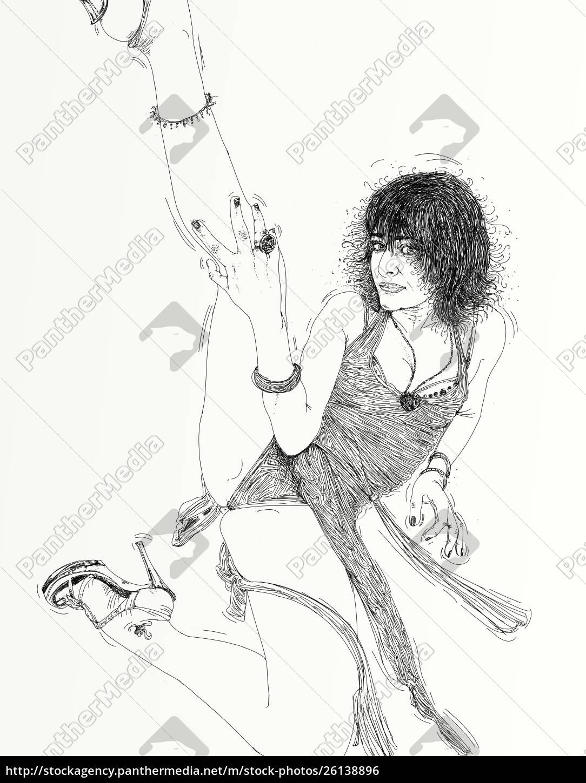 kvinde, erotisk, raffineret, og, sensuel, linje, designet - 26138896