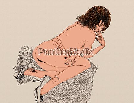 kvinde, erotisk, raffineret, og, sensuel, linje, designet - 26138901