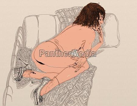 kvinde, erotisk, raffineret, og, sensuel, linje, designet - 26138902
