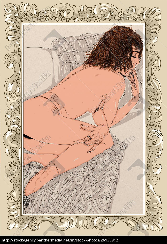 kvinde, erotisk, raffineret, og, sensuel, linje, designet - 26138912
