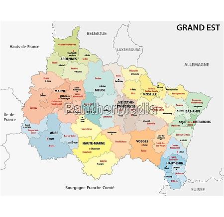 Administrativt Kort Over Den Nye Franske Region Stockphoto