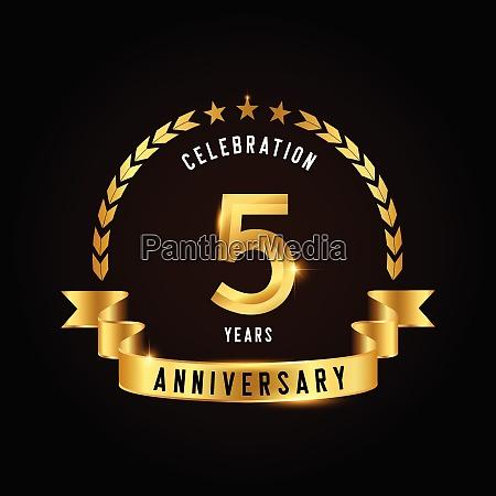 5 jahre feier logotyp goldenes jubilaeums