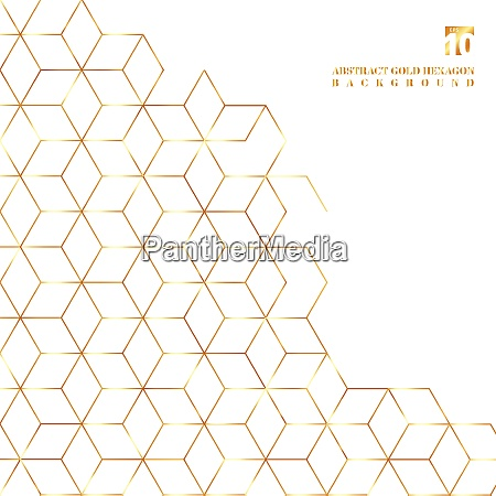 gold hexagons border pattern on white
