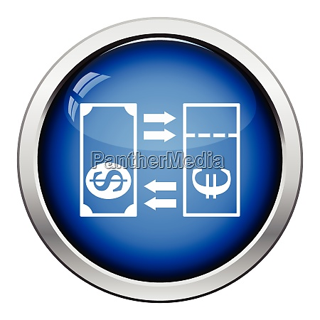 currency exchange icon glossy button design
