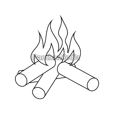 icon of camping fire thin