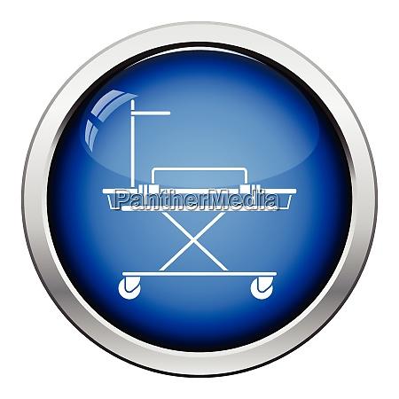 medical stretcher icon glossy button design