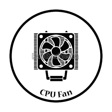 cpu fan icon flat color design