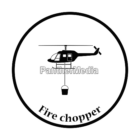 fire service helicopter icon thin circle