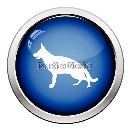 german shepherd icon glossy button design