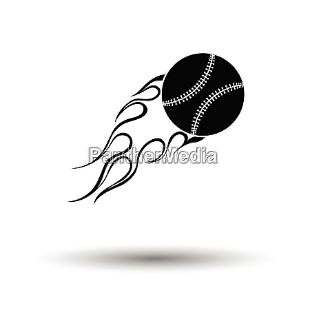 baseball fire ball icon white background