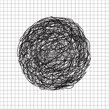 abstract hand drawn scrawl sketch black
