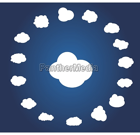 set of different cloud vector illustration