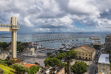 cityscape with harbor in salvador at