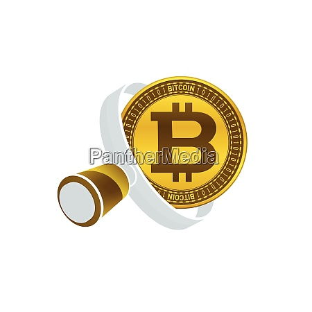 gold colored bitcoin white magnifying glass