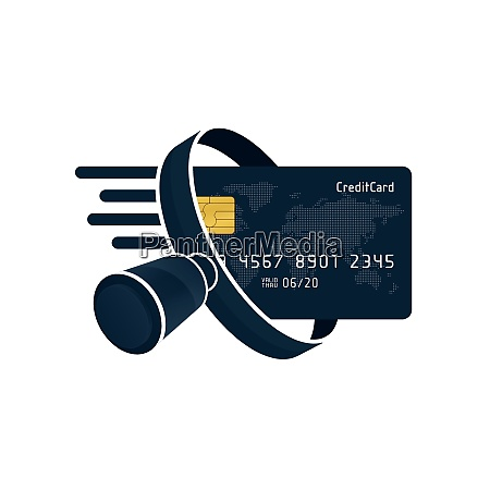 black credit card and magnifying glass