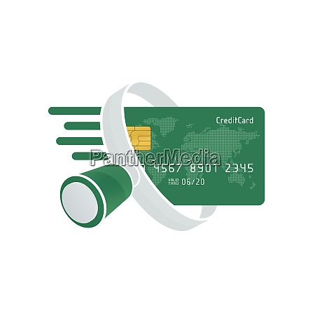 green credit card and white magnifying