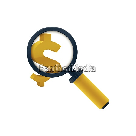 gold colored magnifying glass icon with